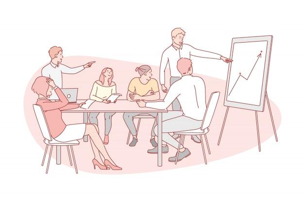 Apresentação, negócios, trabalho em equipe, treinamento, conceito