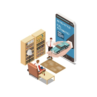 Apresentação online em sala de estar com smartphone e apresentador
