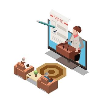 Apresentação online em sala de estar com televisão e apresentador