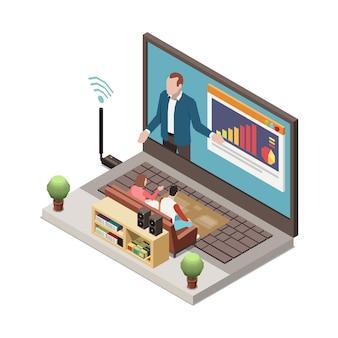 Apresentação online em uma sala de estar com laptop e apresentador