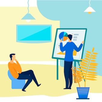Apresentação para ilustração em vetor plana de cliente