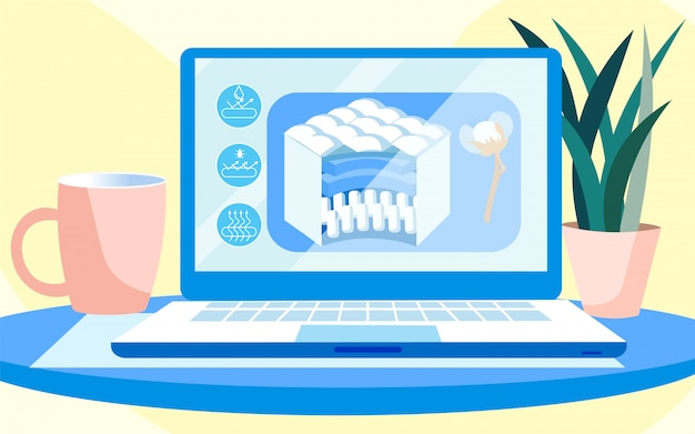 Apresentação para laptop de colchão orgânico de fibra de algodão