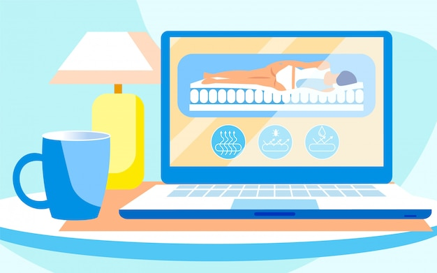 Apresentação realista de laptop de colchão ortopédico