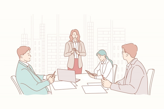 Apresentação, rh, reunião, recrutamento, treinamento, headhunting, conceito do negócio