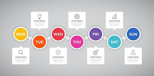 Apresentação semanal círculo infográfico negócios planejador