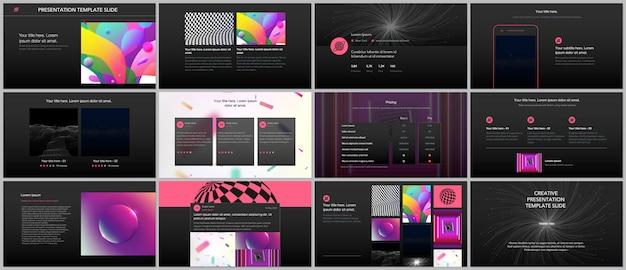 Apresentações mínimas, modelos de portfólio com fundos gradientes coloridos vibrantes.