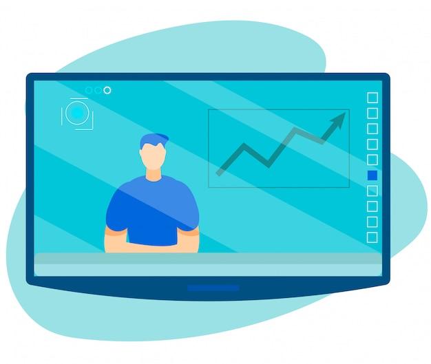 Apresentador com notícias financeiras no desenho de tela de tv