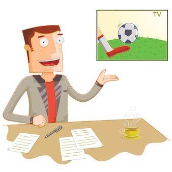 Apresentador de futebol de notícias de transmissão