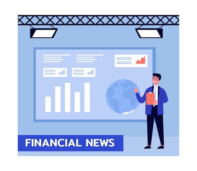 Apresentador de notícias financeiras na tv