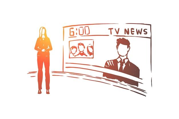 Apresentador feminino, profissão de apresentador, ilustração profissional de apresentadora
