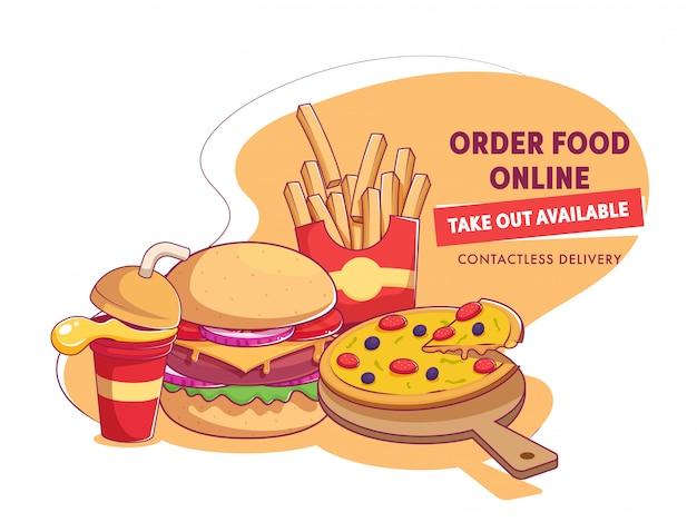 Apresentando fast-food e copo descartável de bebida para encomendar comida on-line, remova a entrega disponível e sem contato.
