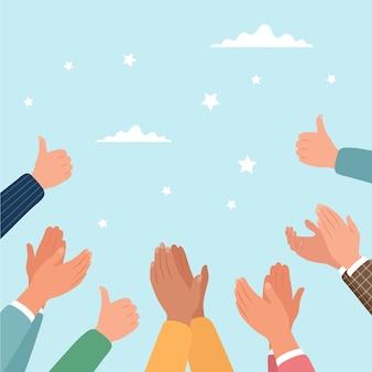 Aprovação batendo palmas e polegares para cima