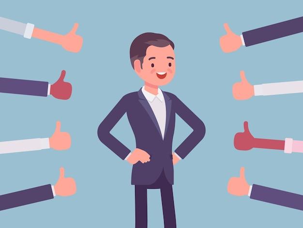 Aprovação, elogio e elogio, polegares aprovando homem feliz