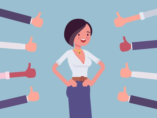 Aprovação, elogio e elogio, polegares aprovando mulher feliz
