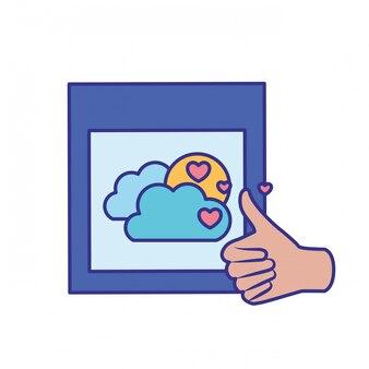 Aprovação mãos com ícone isolado de imagens