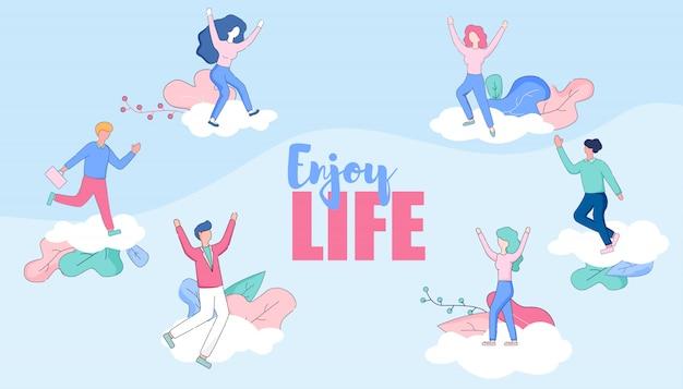 Aproveite a faixa horizontal de vida. personagens felizes.