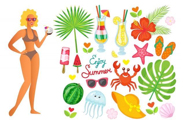 Aproveite a mulher de verão com coquetel, folha de palmeira