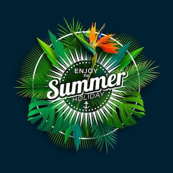 Aproveite as férias de verão com flores de papagaio e plantas tropicais