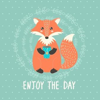 Aproveite o cartão do dia com uma raposa bonita