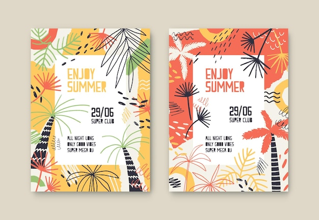 Aproveite o conjunto de modelos de cartaz de vetor de festa de verão. convite para festival ao ar livre decorado com palmeiras e folhas tropicais exóticas. coleção de ingressos para o festival de música. festa dançante, design de cartaz de show de dj