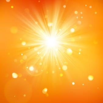 Aproveite o sol. luz do dia quente. fundo de verão com um sol quente estourar com reflexo de lente.