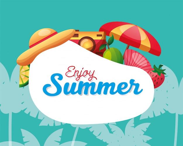 Aproveite o verão com conjunto de ícones e palmeiras vector design