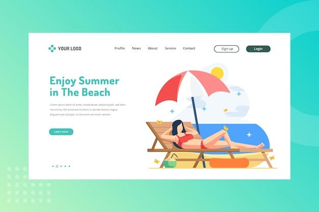 Aproveite o verão na ilustração the beach para viajar conceito na landing page