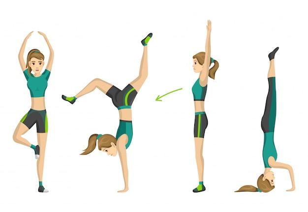 Aptidão da mulher. garota fazendo esporte exercício físico. mulher exercitando várias poses diferentes de treinamento. conceito de vida ativa e saudável