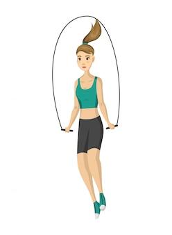 Aptidão da mulher. garota fazendo esporte exercício físico. treino de fitness aeróbica com pular corda. conceito de vida ativa e saudável