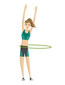 Aptidão da mulher. ícone de garota fazendo exercícios esportivos