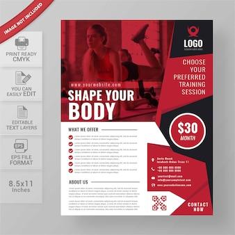 Aptidão e ginásio flyer design