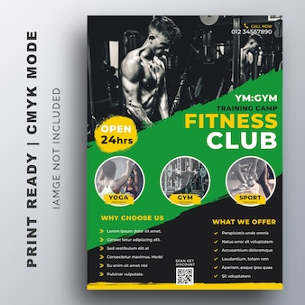 Aptidão, modelo de design de folheto de formação gym