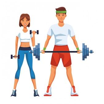 Apto casal fazendo exercício