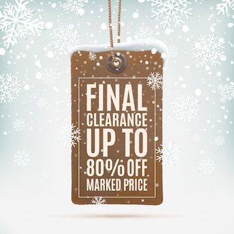 Apuramento final. etiqueta de preço realista, vintage na neve de sagacidade de fundo de inverno e flocos de neve. ilustração.