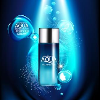 Aqua skin collagen soro e conceito de fundo skin care cosmetic.