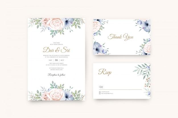 Aquarel floral bonito no modelo de cartão de casamento