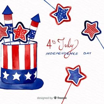 Aquarela 4 de julho - fundo do dia da independência