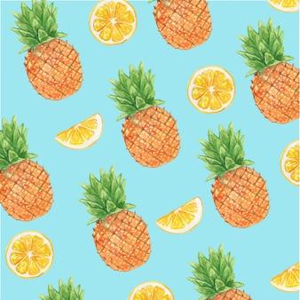 Aquarela abacaxi e limão frutas cítricas sem costura padrão