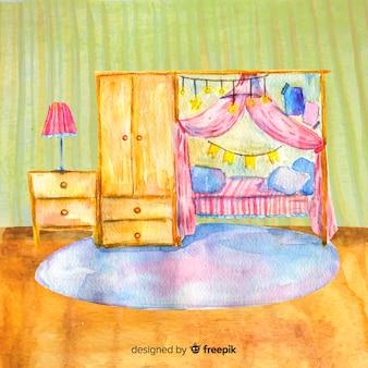 Aquarela acolhedora casa interior