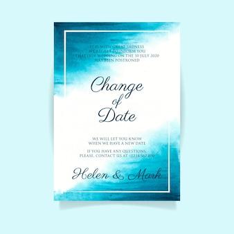 Aquarela adiada conceito de cartão de casamento