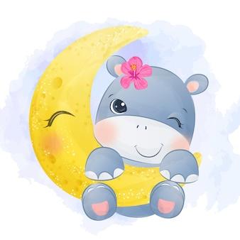 Aquarela adorável bebê hipopótamo