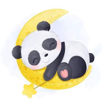Aquarela adorável bebê panda dormindo