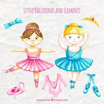 Aquarela agradáveis bailarinas pequenas com elementos decorativos