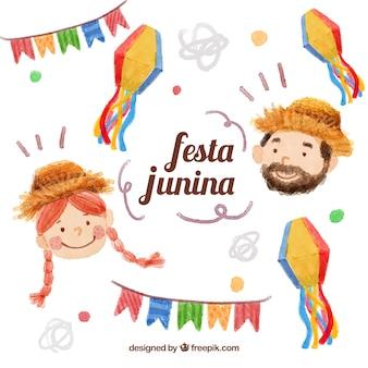 Aquarela agradáveis pessoas no junina festa com decoração