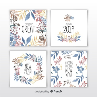 Aquarela ano novo 2019 conjunto de cartões