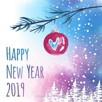 Aquarela ano novo 2019 fundo