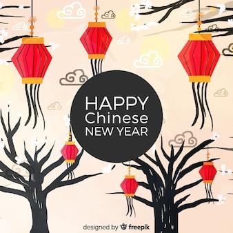 Aquarela ano novo chinês 2019 fundo