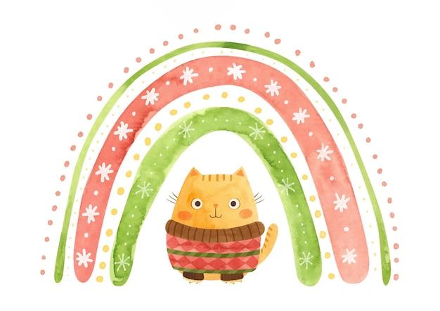 Aquarela arco-íris de natal com flocos de neve e um gato com um suéter clipart de férias de inverno
