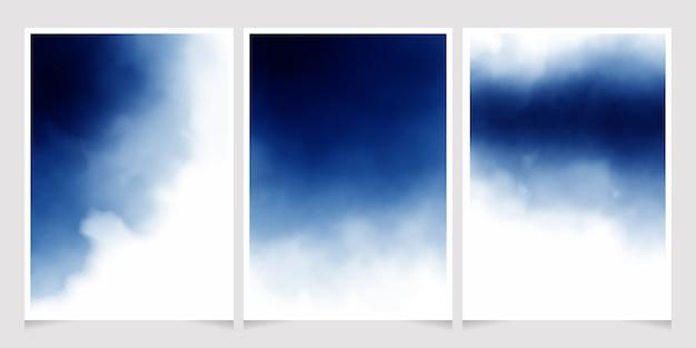 Aquarela azul escura para cartão de convite de casamento