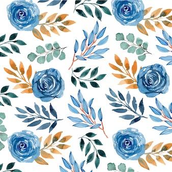 Aquarela azul marinho floral padrão sem emenda